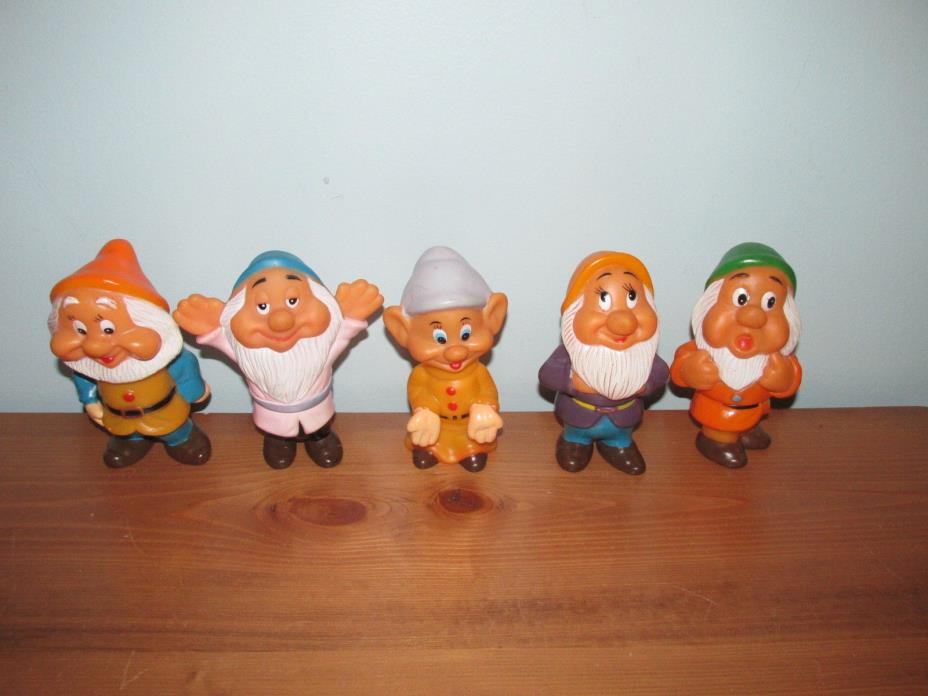 Vintage Disney SNOW WHITE AND THE SEVEN DWARFS Figures Squeak 5 Inch Lot of 5 (N