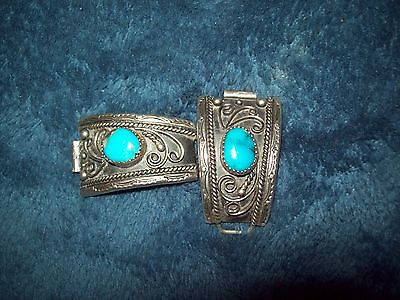 VTG Sterling Silver - NAVAJO Turquoise , Decorative Watch Tips