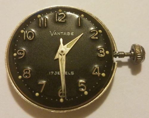 Vantage Ladies Watch Movement 17 Jewels Black Enamel Dial - Runs