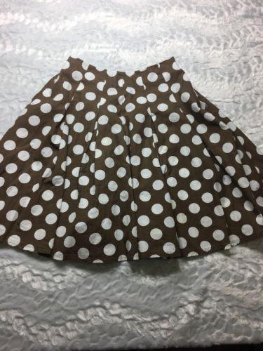 Mini Boden Girl's Polka Dot Circle Skirt Brown White Size 9 10