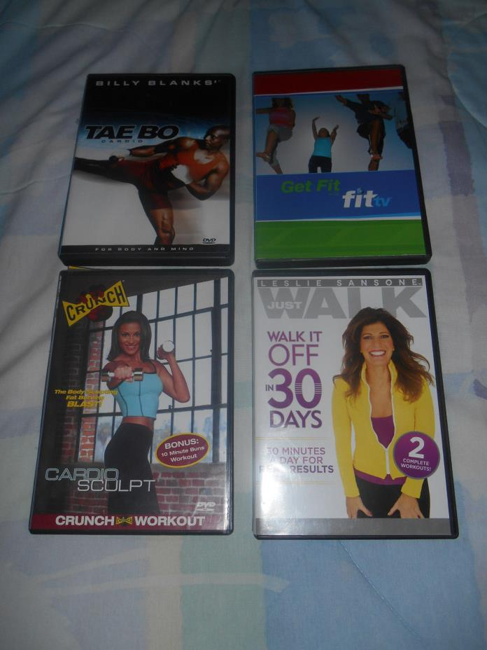 Lot 5 Exercise Workout DVDs Tae Bo Crunch Leslie Sansone Walk Get Fit FitTV Yoga