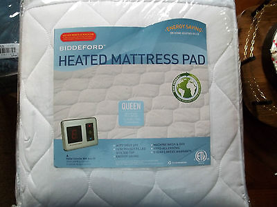 REDUCED!!  NEW BIDDEFORD HEATED MATTRESS PAD - QUEEN SIZE   COLOR: WHITE