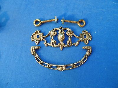 Pair Cast Brass Ornate Victorian Drawer Bail Pull
