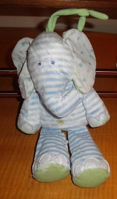 Just one Year Carters Blue Green Stripe Elephant Plush Musical Crib Pull Toy