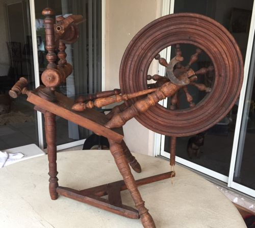 Antique Spinning Wheel From Brittany France Circa 1840-1960 Wheel 18