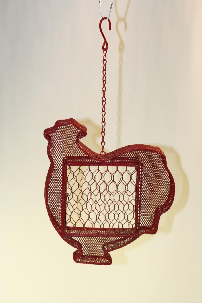 Vintage Retro Farm Red Barn Fresh Chicken Shaped Hanging Wire Bird Feeder Decor