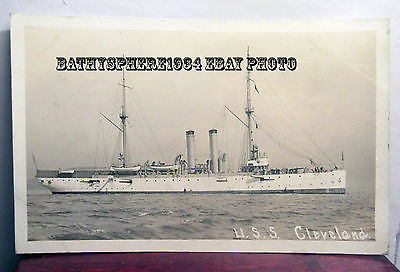 USS Cleveland C-19 US Navy Cruiser Ship Real Photo Postcard Denver Class AZO