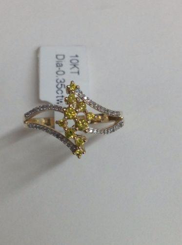 New 10K Yellow Gold Round Canary Yellow and White Diamond Waterfall Ring Size 7