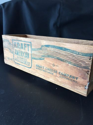 EXCELLENT Vintage KRAFT American Pasteurized Process Cheese Wood Box
