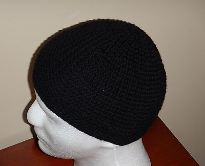 Black 100% cotton crochet men's cap beanie scull handmade hat SJS