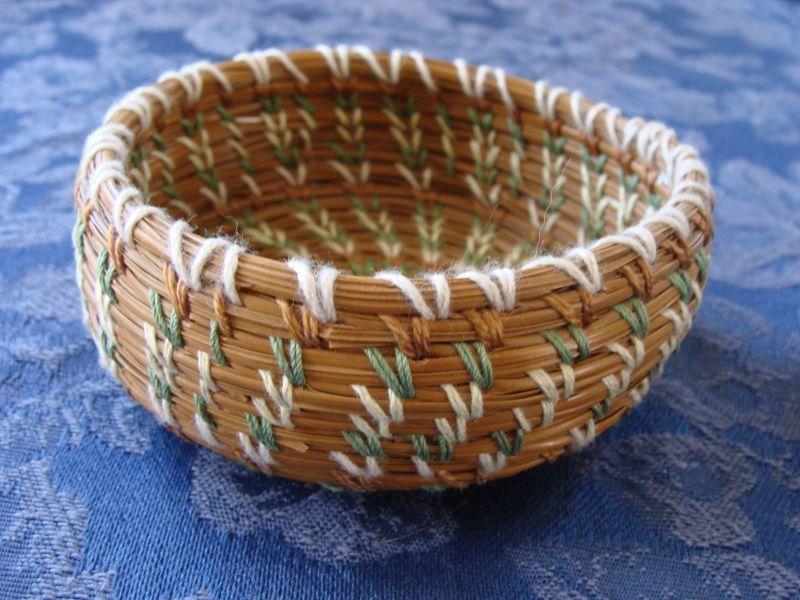 Vintage Woven Pine Needle Coushatta Indian Basket Pastel Colors