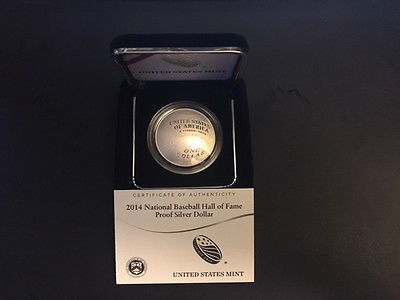 2014 BASEBALL HALL OF FAME $1 SILVER CURVED PROOF COIN, ORIG PKG, COA