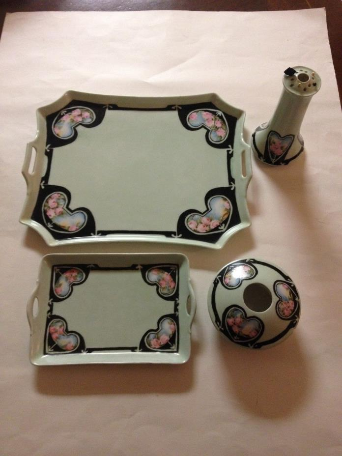 Antique Bavaria Royal Austria Hand Painted Porcelain 4 pc Vanity Tray Pin Holder
