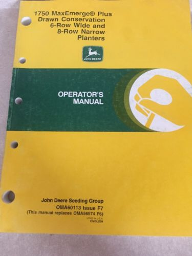 John Deere 1750 MaxEmerge Plus 4 6 Row Conservation Planter Operators manual F6