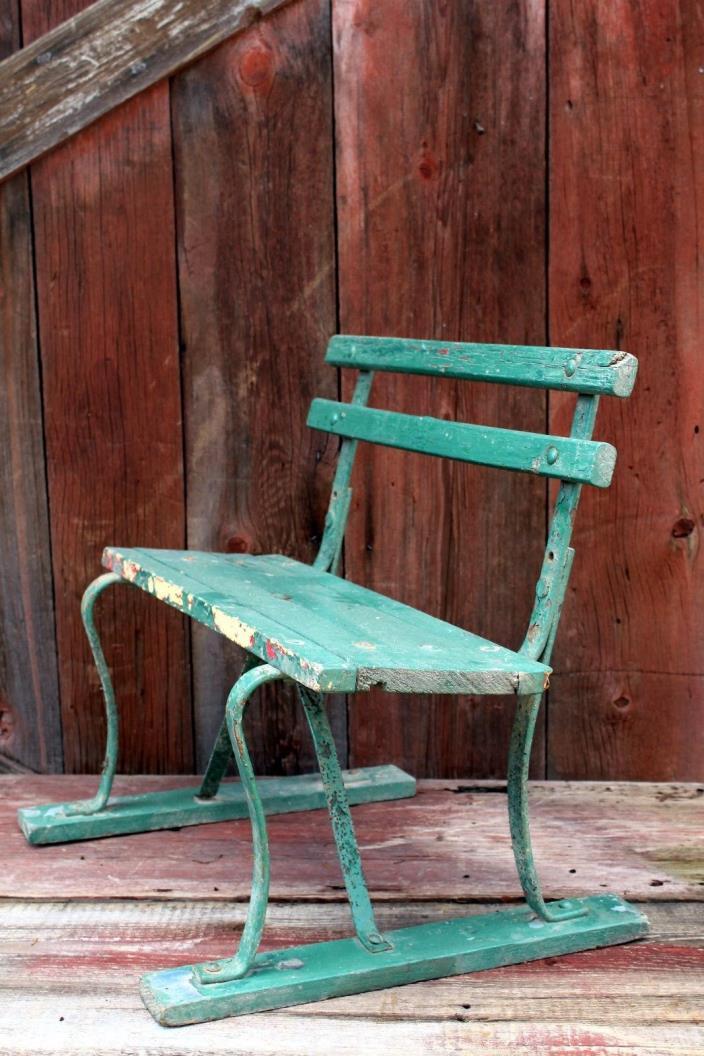 Rare Antique Salesman Sample Garden Bench Wood Cast Wrought Iron Strap Vintage