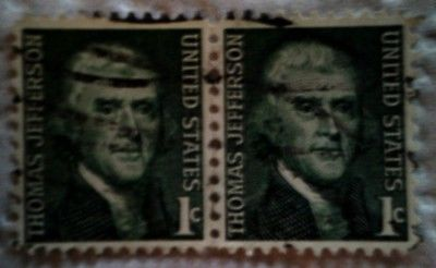 1968 U. S. Scott 1278 Thomas Jefferson two used cancelled 1 cent stamps