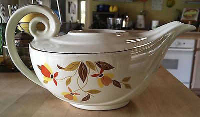 Vintage Hall's Superior Jewel Tea Autumn Leaf Aladdin Genie Lamp Teapot Pot