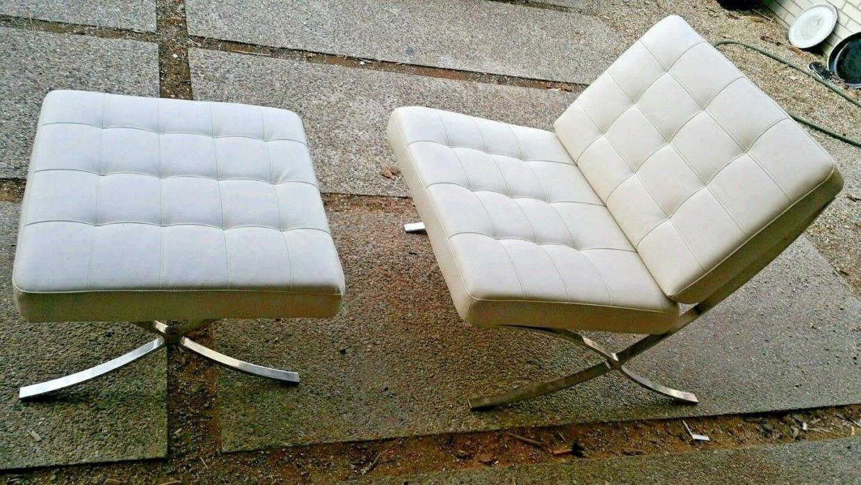 Mies van der Rohe style Barcelona chair & foot rest, mid century modern art deco