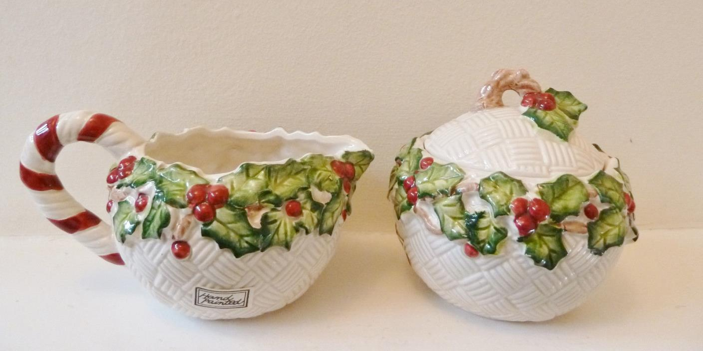 Rare Fitz & Floyd Old World Christmas Holly Cream and Covered Sugar Bowl 1989