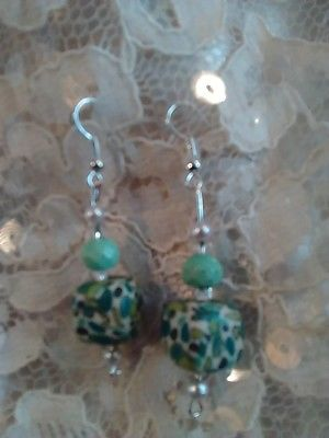 Upscaled Repurposed Green Blue & Brown Drop Dangle Pierced Hook Earrings