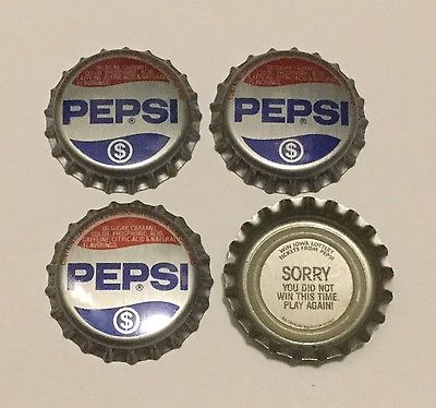 4 Iowa State Lottery Pepsi plastic lined soda bottle caps (obsolete)
