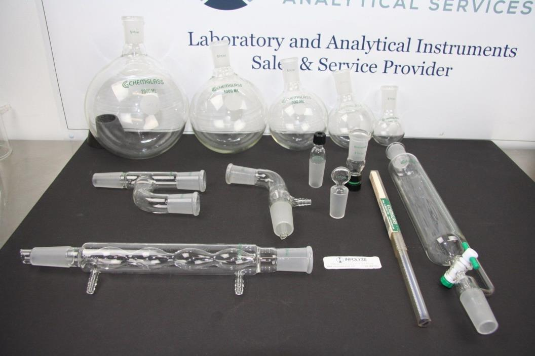 14 Pcs Organic Chemistry Glassware Set - Chemglass 24/40 joints (INF-041117-02)