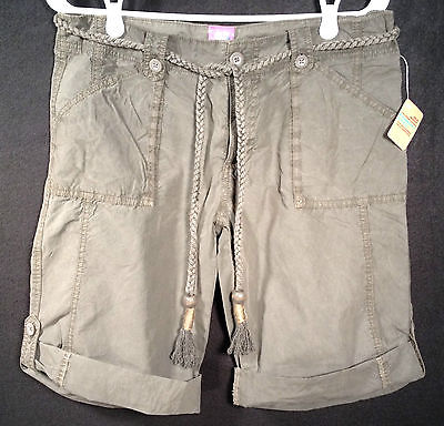 OLD NAVY Low Waist Cotton Shorts with Braided Rope Belt & Button Cuff NWT Size 8