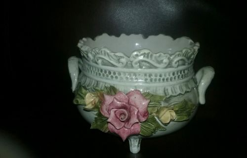 Vintage made in italy BASSANO Capodimonte double handle bowl ceramic