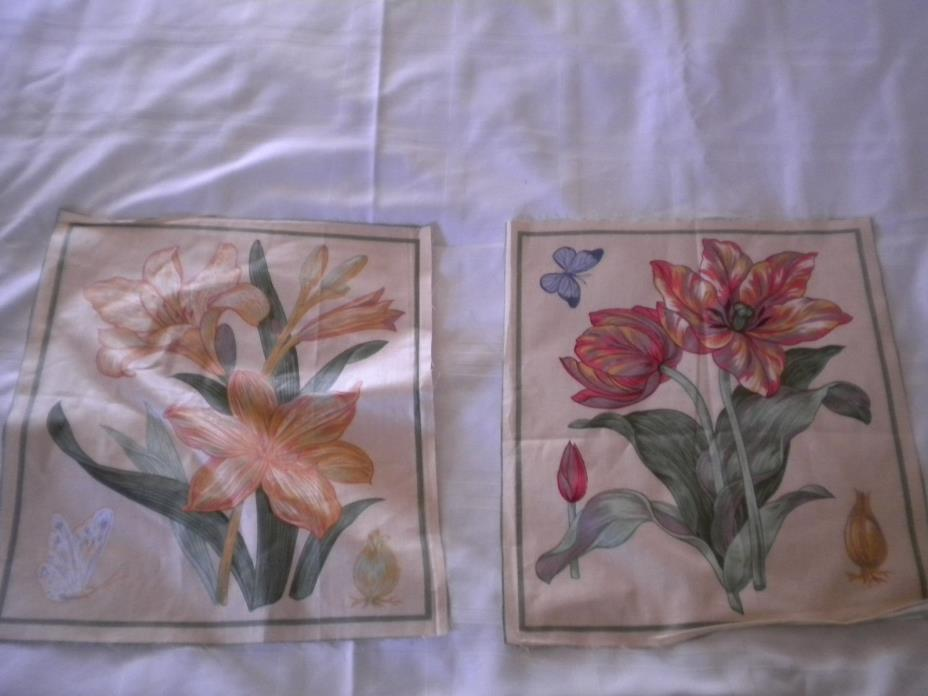 2 Flowers fabric pillow panel  Cotton Lot #2 FREE SHIP