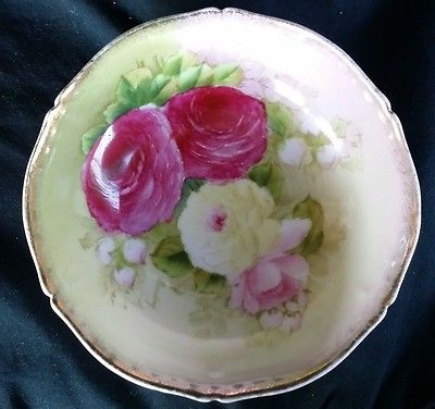 Vintage Bavaria Handpainted Floral Rose Pattern Plate green home decor