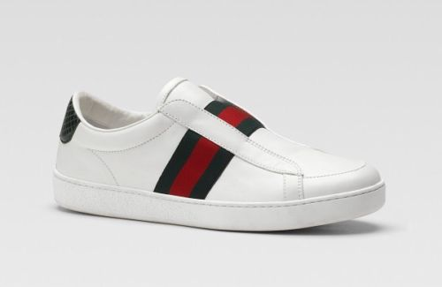 New $250 Gucci Size 27 EU  10.5 U.S Boys white leather sneaker with web