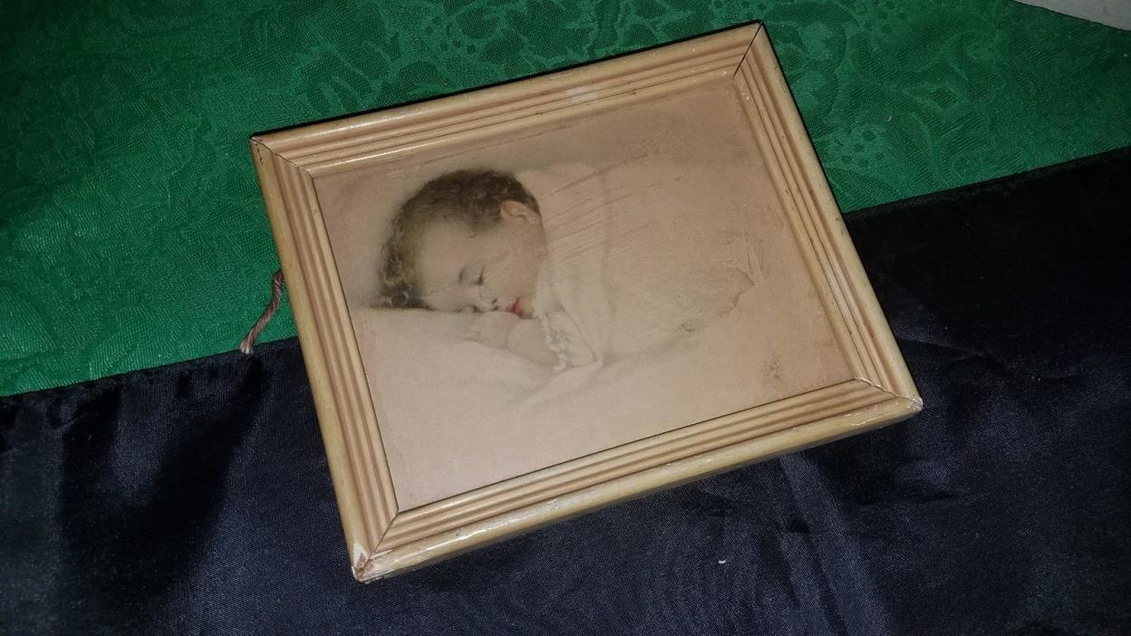 PRECIOUS Small Antique Sleeping Baby Framed Picture On Old Wood Frame!