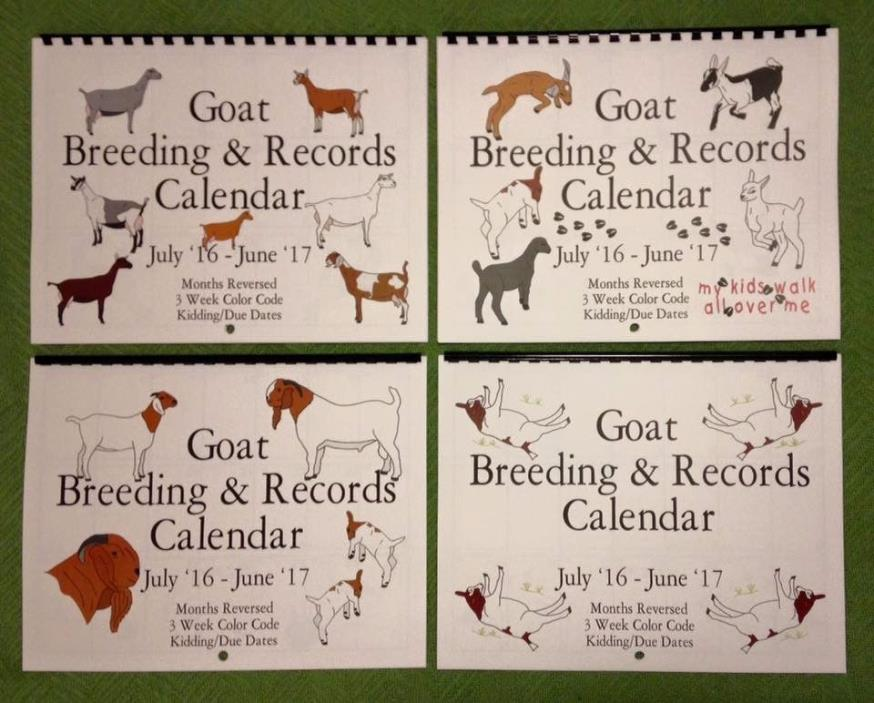 DAIRY DOES - Goat Breeding and Records Calendar - July 2017 - June 2018