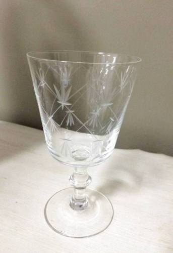 VINTAGE Set of 6 Elegant ETCHED Glass Stemware Goblets