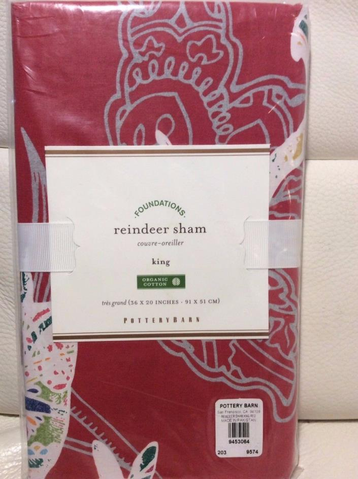 Pottery Barn Reindeer King Sham 100% Organic Cotton Christmas Red