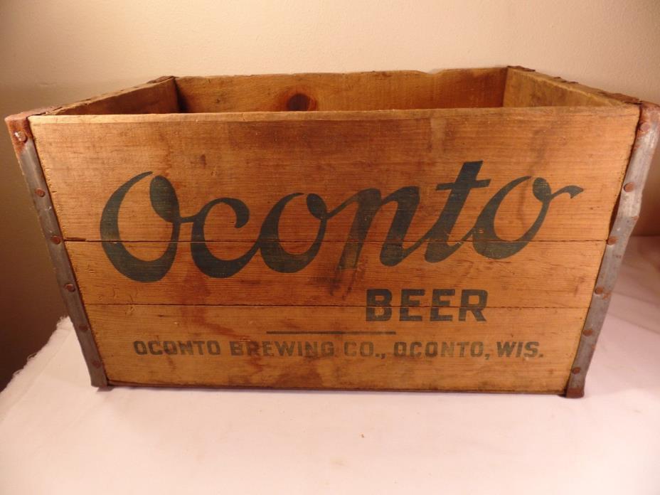 Vintage Wood Beer Box- Crate- Case Oconto Beer Oconto WI