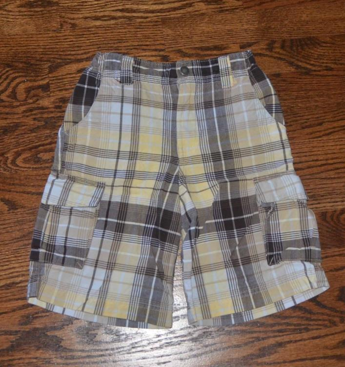 LANDS END BOYS 7 PLAID SUMMER SHORTS adjustable waist YELLOW & BROWN