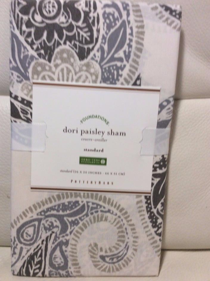 Pottery Barn Dori Paisley Standard Sham Neutral NWT! 100% Cotton