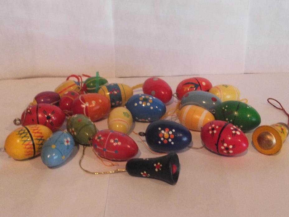 Vintage German Erzgebirge Easter Eggs / Bells Wooden Ornaments Germany