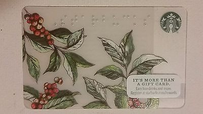 STARBUCKS CARD - NEW - COFFEE ARABICA BEAN - BERRY & LEAVES BRAILLE  2016
