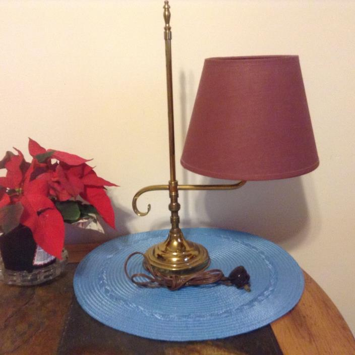 Vintage Solid Brass Electric Student Lamp And Original Shade
