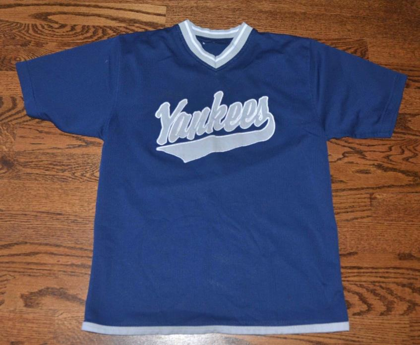 YANKEES BOYS SIZE M 10/12 NAVY SHORT SLEEVE MESH SHIRT