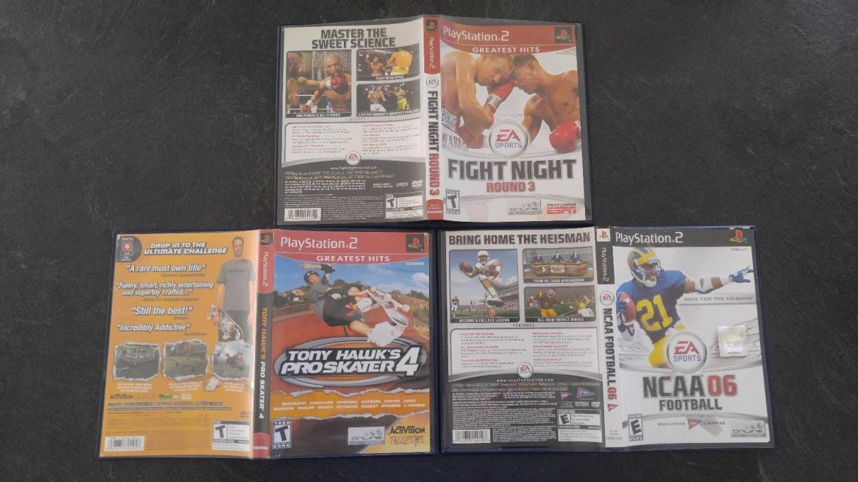 Tony Hawk 4, Fight Night Round 3, & NCAA 06 Football - Playstation 2 - PS2 Set!
