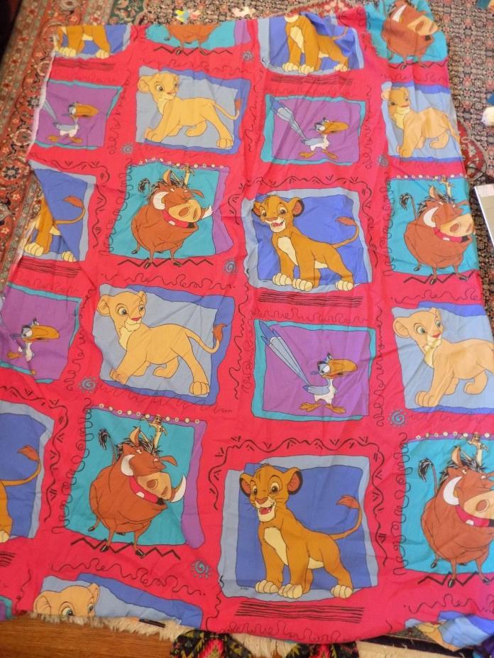 Vintage 90s Disney Lion King Flat/Top Bed Sheet Twin Craft Fabric VGC Simba