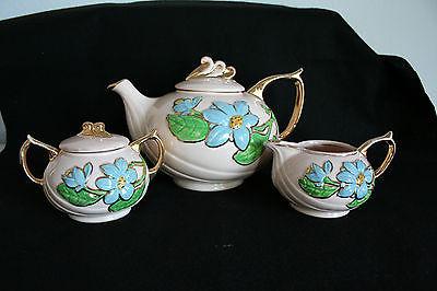 Vintage Hull Art Magnolia Teapot Creamer & Sugar Set  Glossy