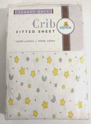 New Baby BIG OSHI 100% Cotton Moon & Star Fitted Jersey Knit Crib Mattress Sheet