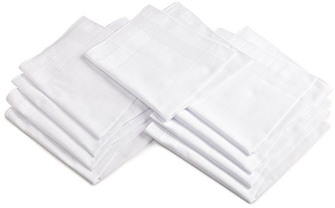 Dockers Set of 9 White Full Size Absorbant Handkerchiefs 100% Cotton NEW