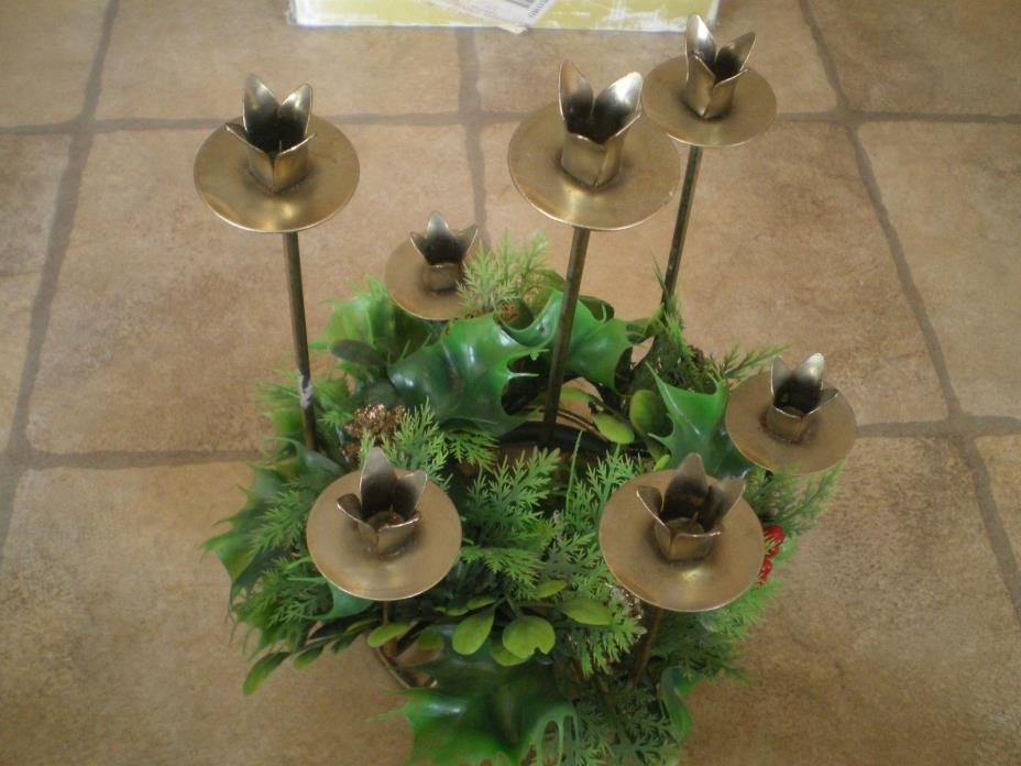 Metal 7 Candle Holder With Plastic Holly Pinecone Ring Christmas Vintage