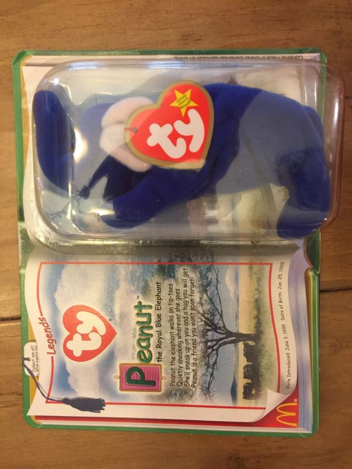 Peanut the Royal Blue Elephant Ronald McDonald TY Legends Beanie Baby New Toy