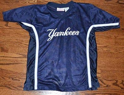 YANKEES BOYS SIZE M 10/12 NAVY SHORT SLEEVE MESH SHIRT TOP GENUINE MERCHANDISE
